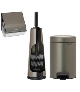 סט לשירותים פלטינום Brabantia: פח פדל 3 ליטר NewIcon + מברשת אסלה קונית + מתקן קיר לנייר טואלט ברבנטיה + עכשיו ב30% הנחת מבצע פסח + משלוח חינם!