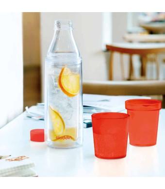 אלדין - Crave  בקבוק מים מבודד עם  2 כוסות אדומות, 0.75 ליטר  ללא BPA + הנחה 10% לנרשמים לניוזלטר