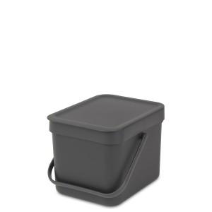 SORT & GO פח הפרדה 6 ליטר פלסטיק, אפור - Brabantia + הנחה 10% לנרשמים לניוזלטר