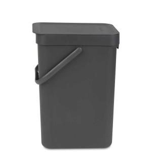 SORT & GO פח הפרדה 12 ליטר פלסטיק, אפור - Brabantia + הנחה 10% לנרשמים לניוזלטר
