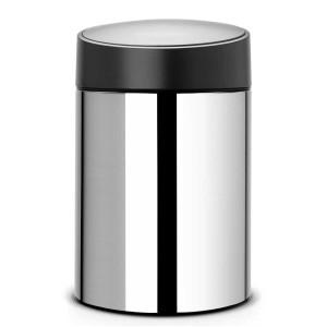 פח אשפה סלייד 5 ליטר מבריק מכסה שחור כולל תליה Brabantia + הנחה 10% לנרשמים לניוזלטר