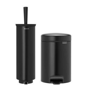 סט לשירותים שחור מט Brabantia: פח פדל 3 ליטר NewIcon + מברשת אסלה עם אפשרות תלייה ברבנטיה + הנחה 10% לנרשמים לניוזלטר + משלוח חינם!