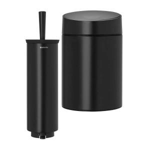 סט לשירותים, נתלה שחור מט Brabantia: פח סלייד נתלה 5 ליטר + מברשת אסלה עם אפשרות תלייה ברבנטיה + הנחה 10% לנרשמים לניוזלטר + משלוח חינם!