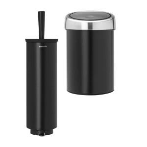 סט לשירותים, נתלה שחור מט Brabantia: פח טאץ נתלה 3 ליטר + מברשת אסלה עם אפשרות תלייה ברבנטיה + עכשיו במבצע ראש השנה 30% הנחה + משלוח חינם!