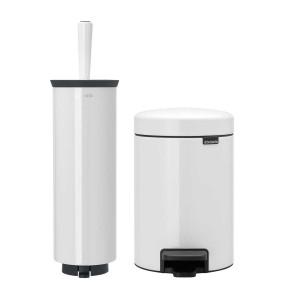 סט לשירותים לבן Brabantia: פח פדל 3 ליטר NewIcon + מברשת אסלה עם אפשרות תלייה ברבנטיה + הנחה 10% לנרשמים לניוזלטר + משלוח חינם!