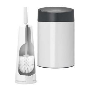 סט לשירותים לבן עם פח נתלה Brabantia: פח סלייד נתלה לבן, מכסה שחור מט 5 ליטר + מברשת אסלה קונית ברבנטיה +הנחה 10% לנרשמים לניוזלטר + משלוח חינם