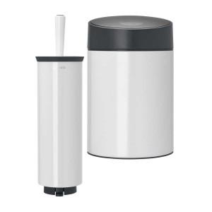 סט לשירותים, נתלה לבן Brabantia: פח סלייד נתלה לבן, מכסה שחור מט 5 ליטר + מברשת אסלה עם אפשרות תלייה ברבנטיה + הנחה 10% לנרשמים לניוזלטר + משלוח חינם