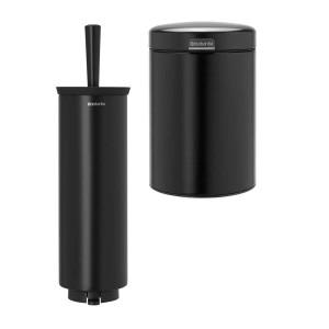 סט לשירותים, נתלה שחור מט Brabantia: פח נתלה 3 ליטר NewIcon + מברשת אסלה עם אפשרות תלייה ברבנטיה + הנחה 10% לנרשמים לניוזלטר + משלוח חינם!