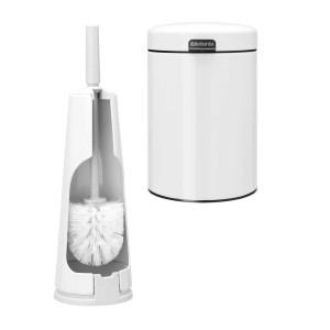 סט לשירותים לבן עם פח נתלה Brabantia: פח נתלה 3 ליטר NewIcon + מברשת אסלה קונית ברבנטיה + עכשיו במבצע ראש השנה 30% הנחה + משלוח חינם!