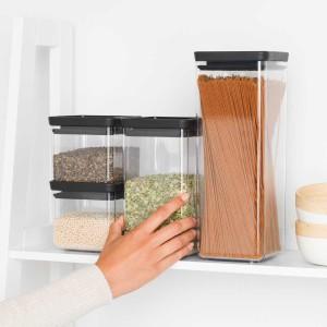 סט 4 מיכלי אחסון פלסטיק שקוף 0.7 + 1.6 + 2.5 ליטר, מכסה אפור כהה Brabantia - ללא BPA + הנחה 10% לנרשמים לניוזלטר