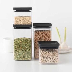סט 4 מיכלי אחסון פלסטיק שקוף 0.7 + 1.6 ליטר, מכסה אפור כהה Brabantia - ללא BPA + הנחה 10% לנרשמים לניוזלטר