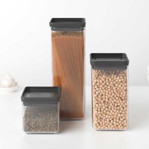 סט 3 מיכלי אחסון פלסטיק שקוף 0.7 + 1.6 + 2.5 ליטר, מכסה אפור כהה Brabantia - ללא BPA + הנחה 10% לנרשמים לניוזלטר