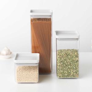 סט 3 מיכלי אחסון פלסטיק שקוף 0.7 + 1.6 + 2.5 ליטר, מכסה אפור בהיר Brabantia - ללא BPA + הנחה 10% לנרשמים לניוזלטר