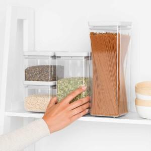 סט 4 מיכלי אחסון פלסטיק שקוף 0.7 + 1.6 + 2.5 ליטר, מכסה אפור בהיר Brabantia - ללא BPA + הנחה 10% לנרשמים לניוזלטר