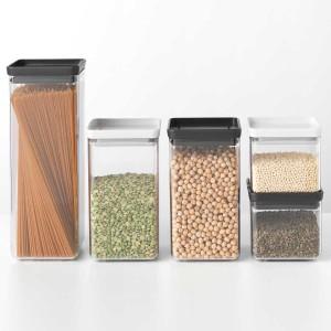סט 5 מיכלי אחסון פלסטיק שקוף 0.7 + 1.6 + 2.5 ליטר, מכסה אפור בהיר וכהה Brabantia - ללא BPA + הנחה 10% לנרשמים לניוזלטר