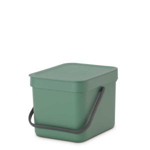 SORT & GO פח הפרדה 6 ליטר פלסטיק, ירוק אשוח - Brabantia + הנחה 10% לנרשמים לניוזלטר
