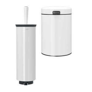 סט לשירותים נתלה, לבן Brabantia: פח נתלה 3 ליטר NewIcon + מברשת אסלה עם אפשרות תלייה ברבנטיה + הנחה 10% לנרשמים לניוזלטר + משלוח חינם!