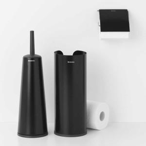 סט טואלט לשירותים שחור מט ReNew: דיספנסר, מתקן קיר לנייר טואלט ומברשת אסלה קונית Brabantia + הנחה 10% לנרשמים לניוזלטר