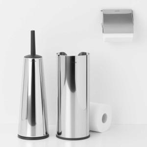 סט טואלט לשירותים מבריק ReNew: דיספנסר, מתקן קיר לנייר טואלט ומברשת אסלה קונית Brabantia + הנחה 10% לנרשמים לניוזלטר