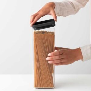 מיכל אחסון פלסטיק שקוף 2.5 ליטר, מכסה אפור כהה Brabantia - ללא BPA + עכשיו ב30% הנחת מבצע פסח!